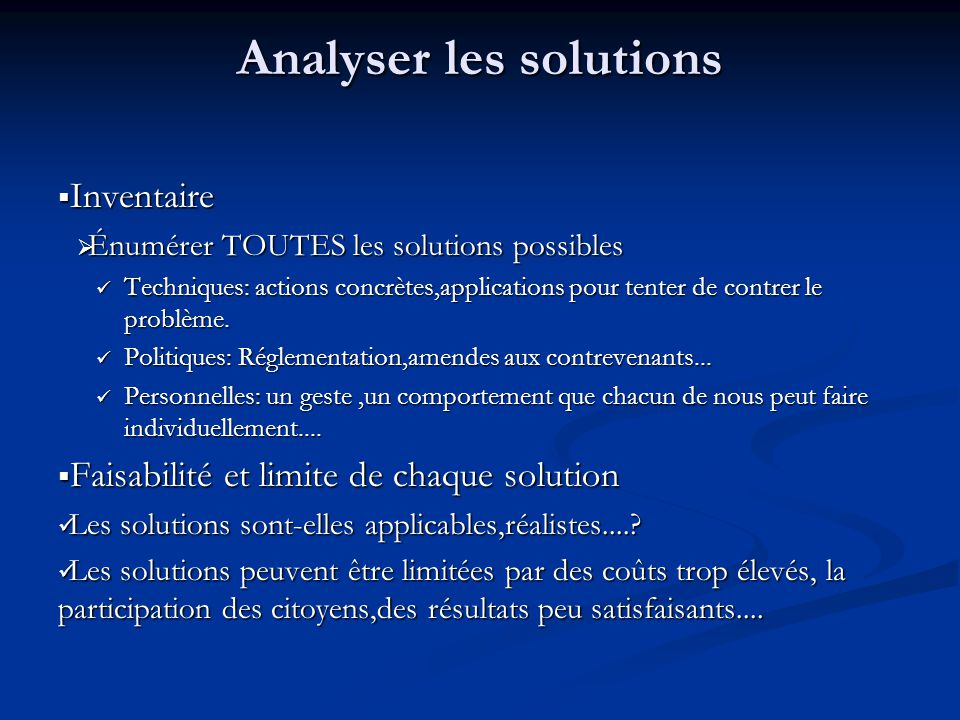 Analyser les solutions