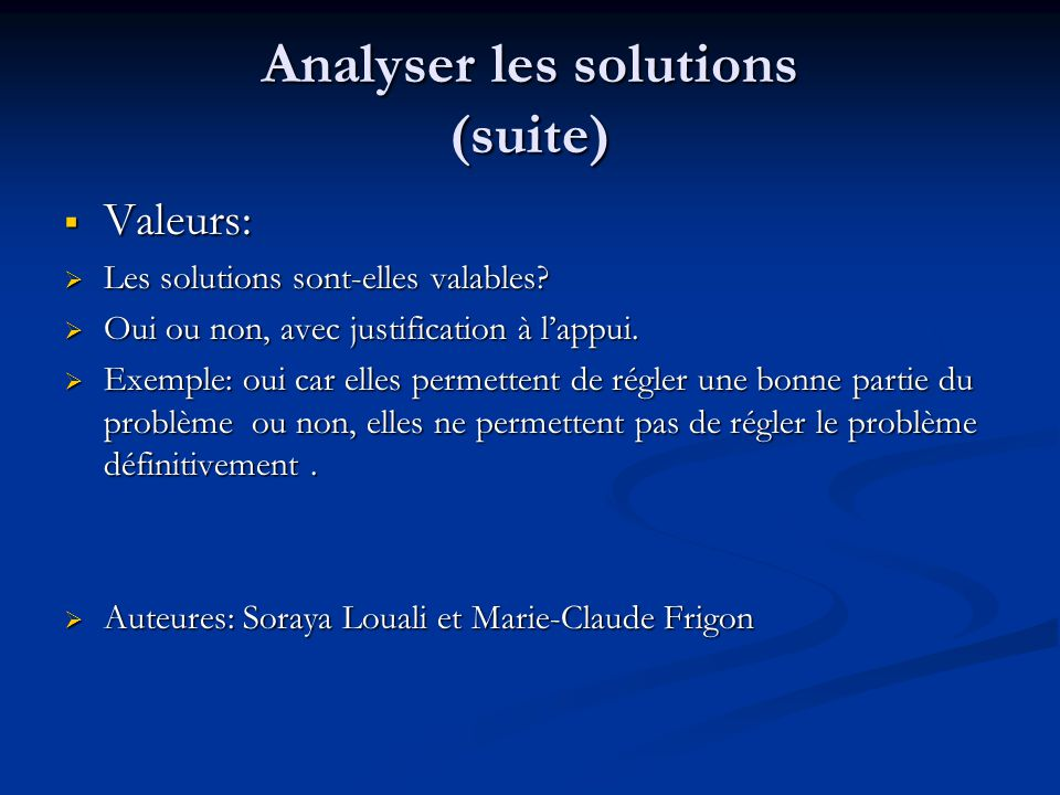 Analyser les solutions (suite)