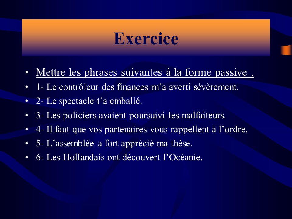 Exercice Mettre les phrases suivantes à la forme passive .