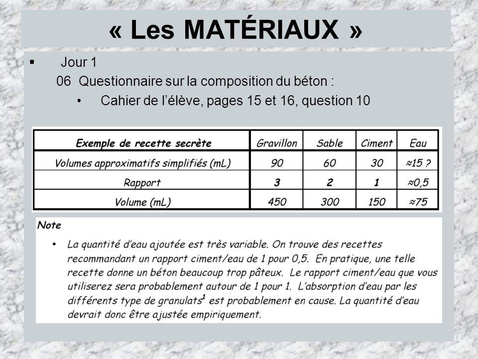 « Les MATÉRIAUX » Jour 1.