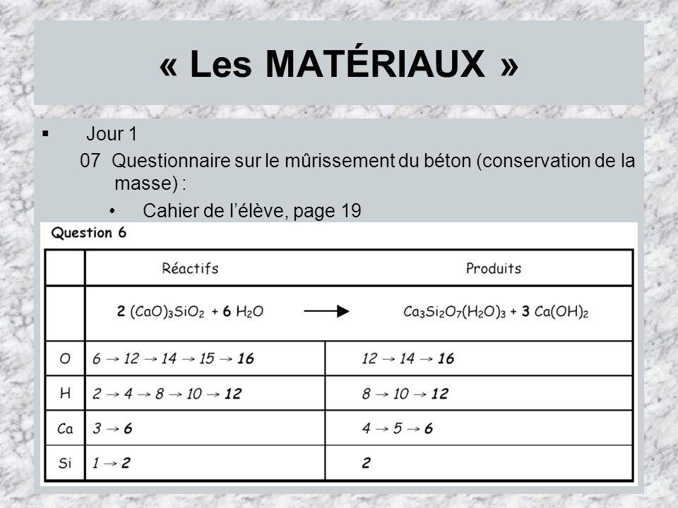 « Les MATÉRIAUX » Jour 1. 07 Questionnaire sur le mûrissement du béton (conservation de la masse) :