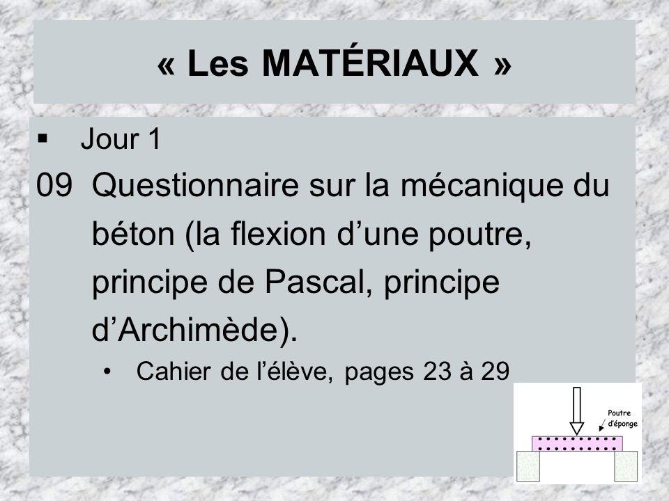 « Les MATÉRIAUX » 09 Questionnaire sur la mécanique du