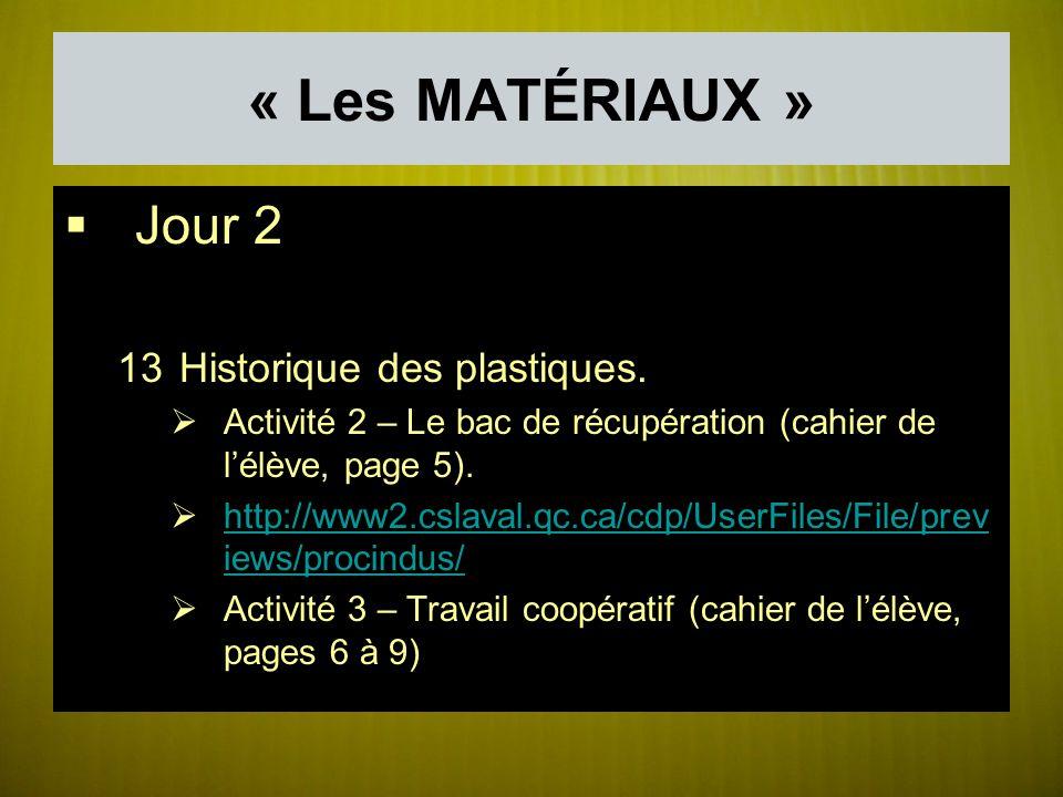 « Les MATÉRIAUX » Jour 2 Historique des plastiques.