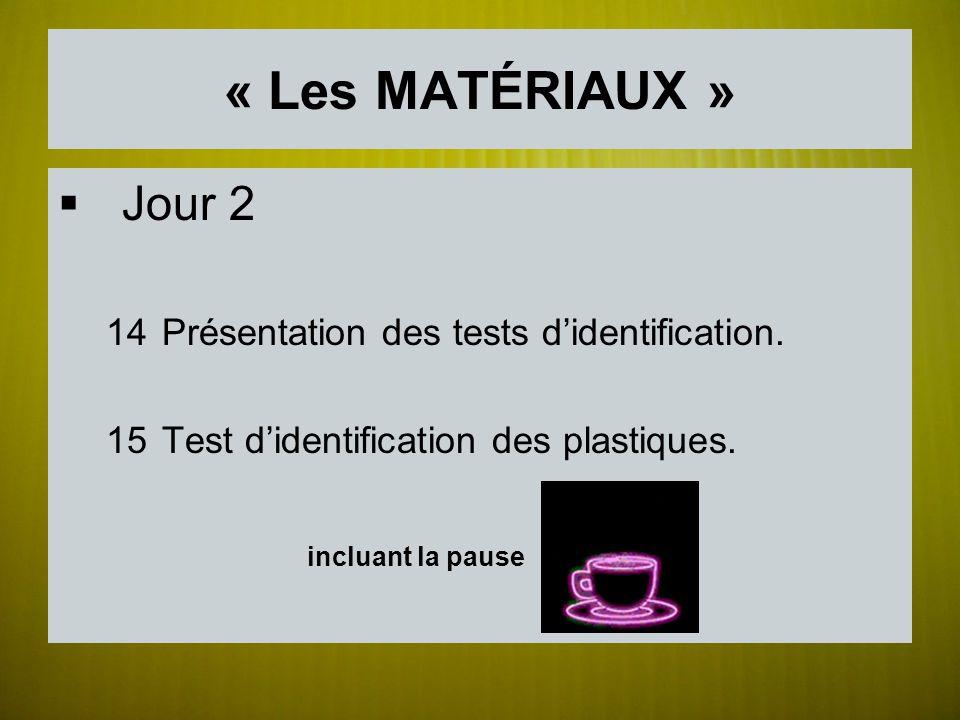« Les MATÉRIAUX » Jour 2 incluant la pause
