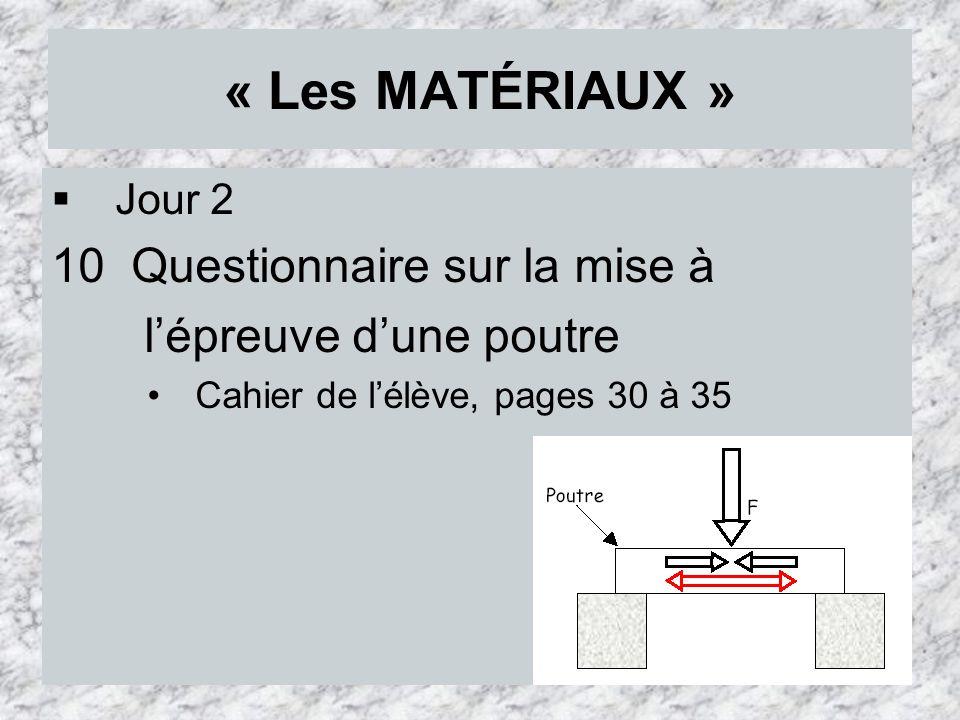 « Les MATÉRIAUX » 10 Questionnaire sur la mise à