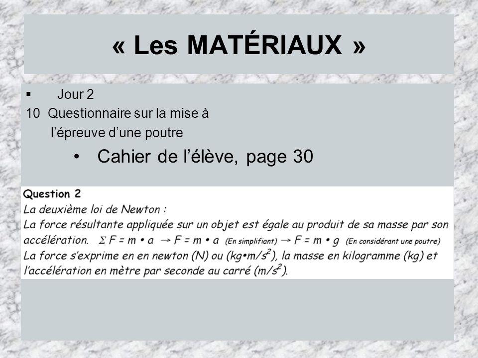 « Les MATÉRIAUX » Cahier de l'élève, page 30 Jour 2