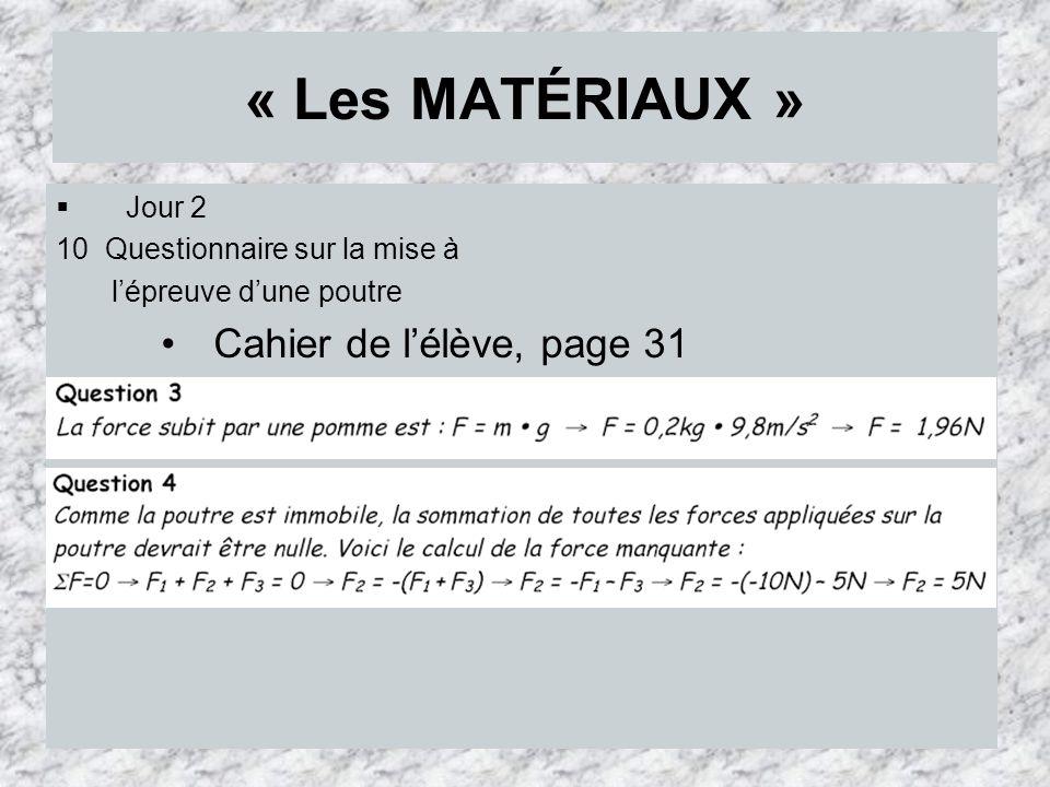 « Les MATÉRIAUX » Cahier de l'élève, page 31 Jour 2