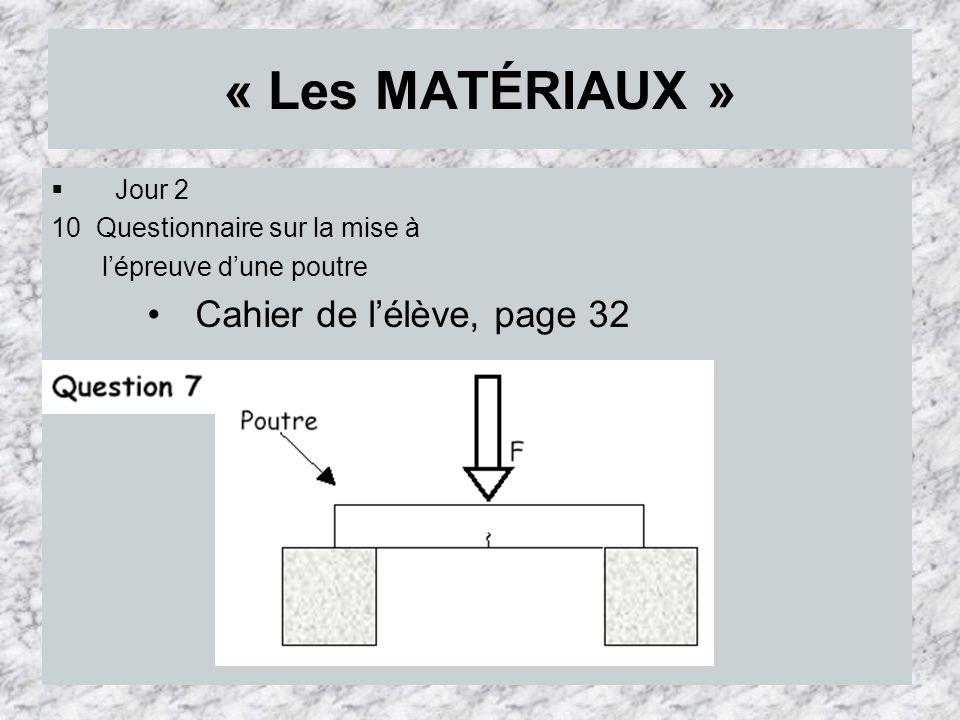 « Les MATÉRIAUX » Cahier de l'élève, page 32 Jour 2