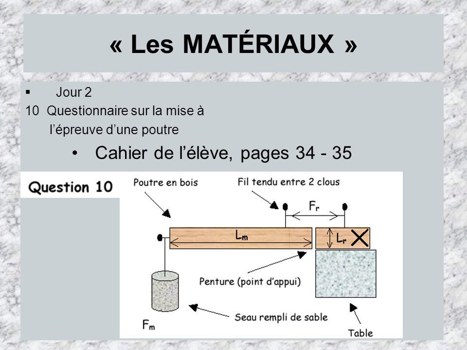 « Les MATÉRIAUX » Cahier de l'élève, pages 34 - 35 Jour 2