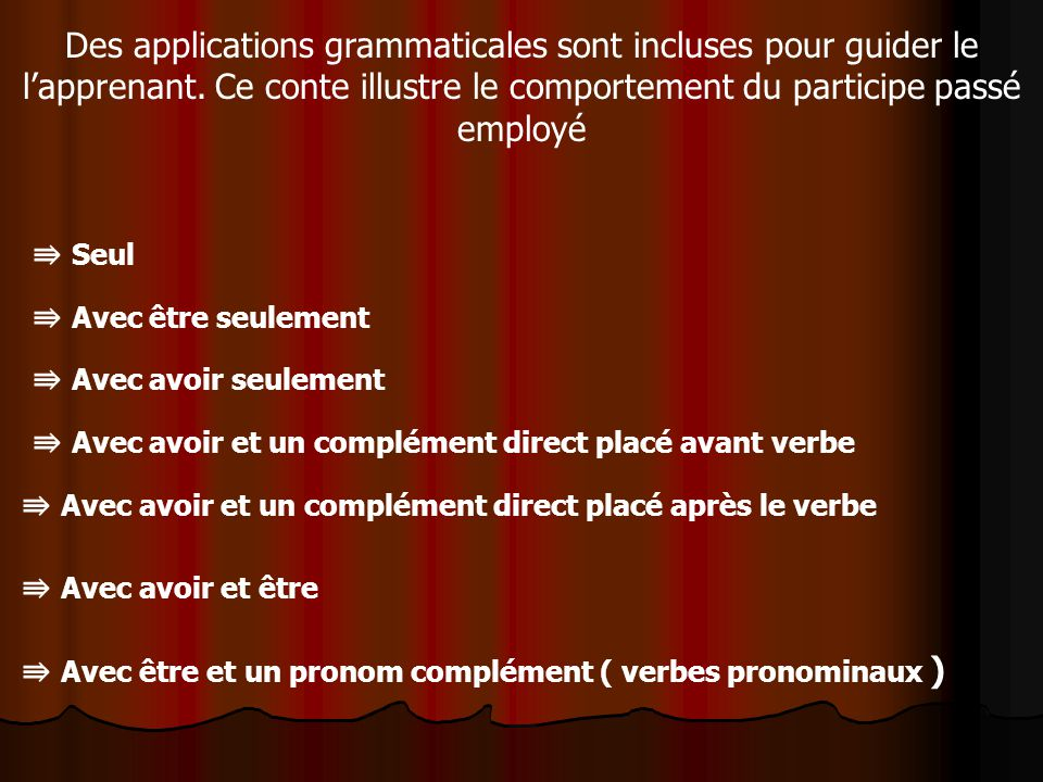 Des applications grammaticales sont incluses pour guider le l'apprenant. Ce conte illustre le comportement du participe passé employé
