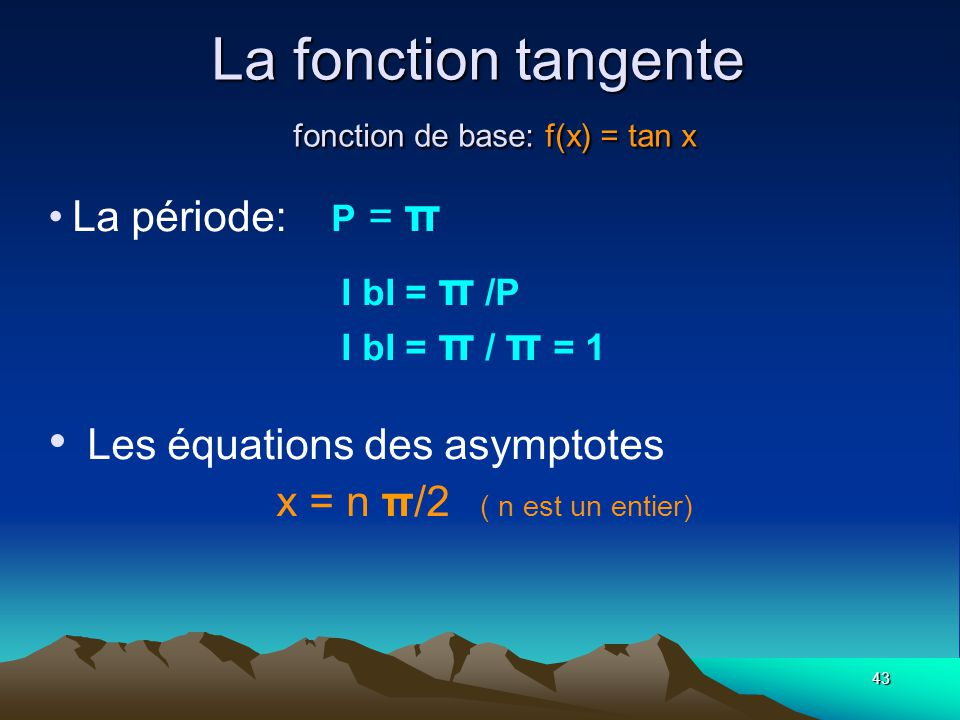 La fonction tangente fonction de base: f(x) = tan x
