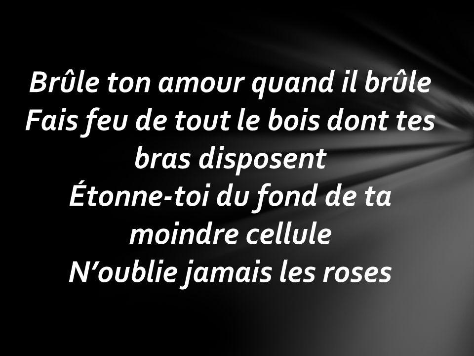 Brûle ton amour quand il brûle Fais feu de tout le bois dont tes bras disposent Étonne-toi du fond de ta moindre cellule N'oublie jamais les roses