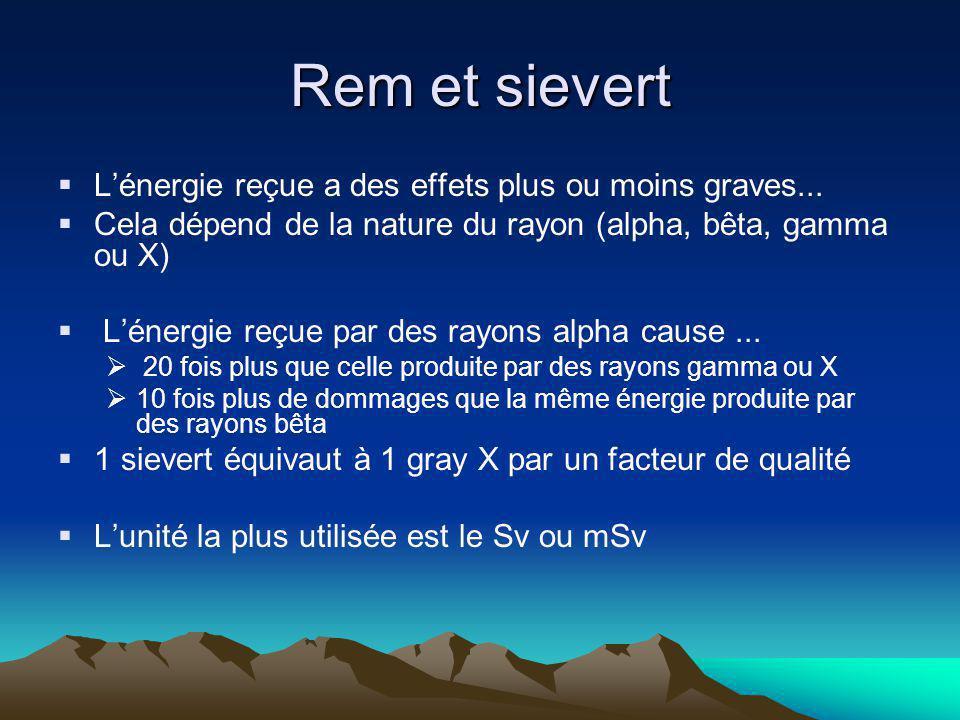 Rem et sievert L'énergie reçue a des effets plus ou moins graves...