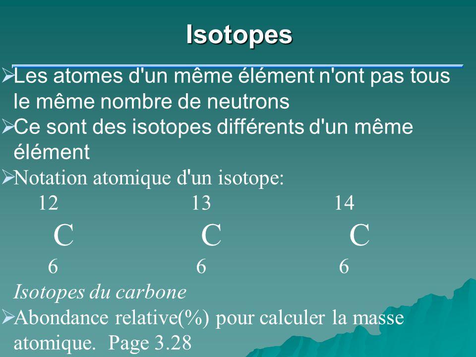 Isotopes Les atomes d un même élément n ont pas tous le même nombre de neutrons. Ce sont des isotopes différents d un même élément.