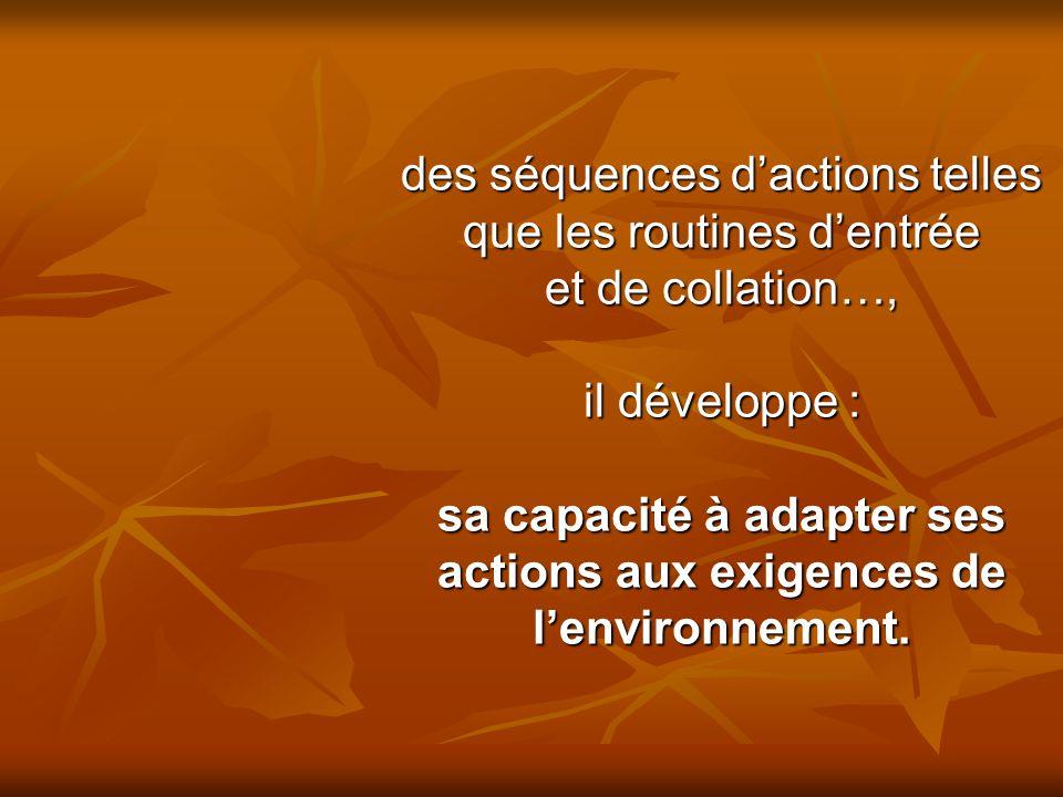 sa capacité à adapter ses actions aux exigences de l'environnement.