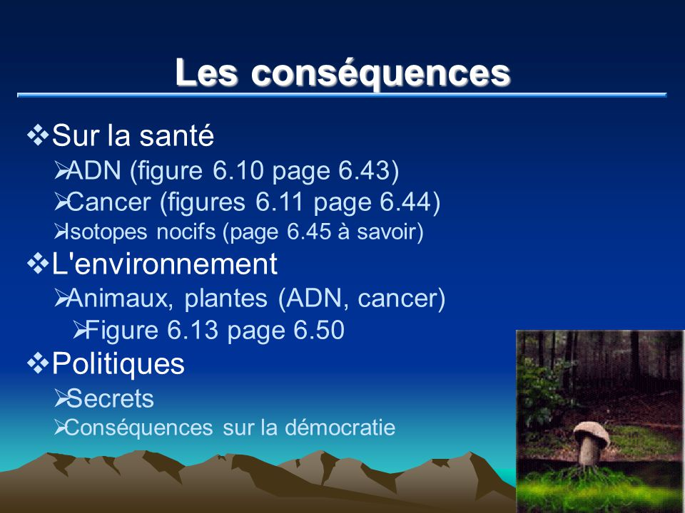 Les conséquences Sur la santé L environnement Politiques