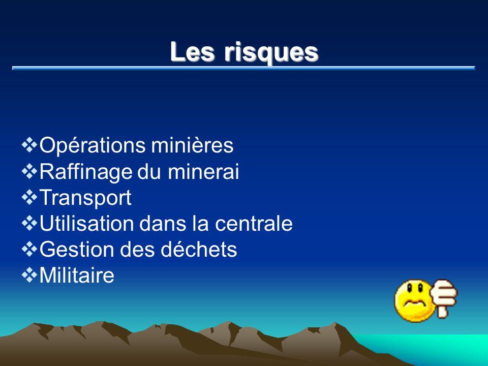 Les risques Opérations minières Raffinage du minerai Transport