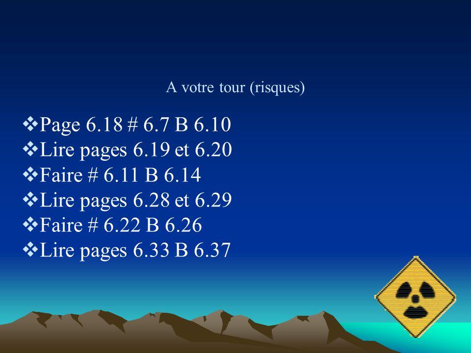Page 6.18 # 6.7 B 6.10 Lire pages 6.19 et 6.20 Faire # 6.11 B 6.14