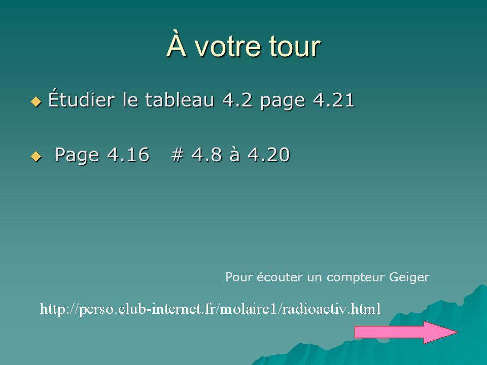À votre tour Étudier le tableau 4.2 page 4.21 Page 4.16 # 4.8 à 4.20