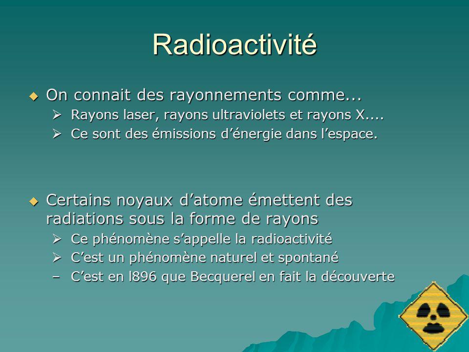 Radioactivité On connait des rayonnements comme...