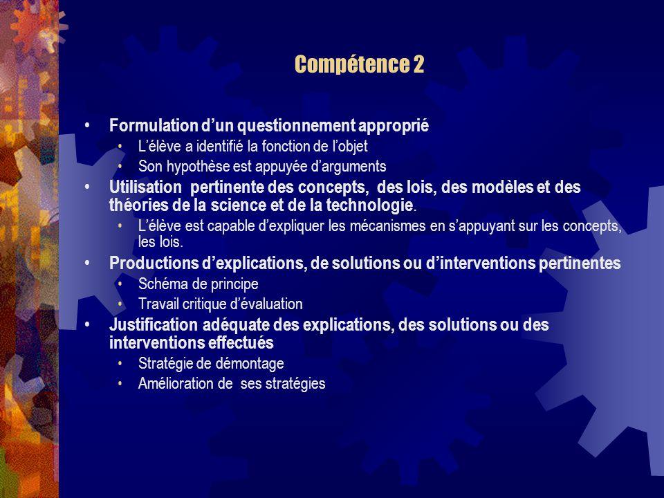 Compétence 2 Formulation d'un questionnement approprié