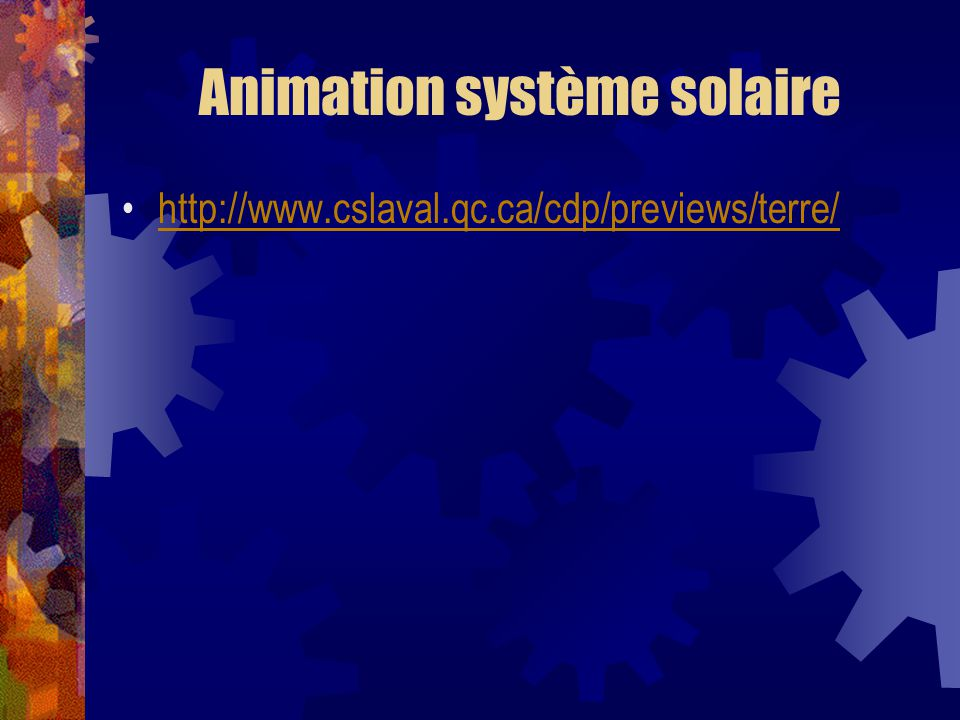 Animation système solaire