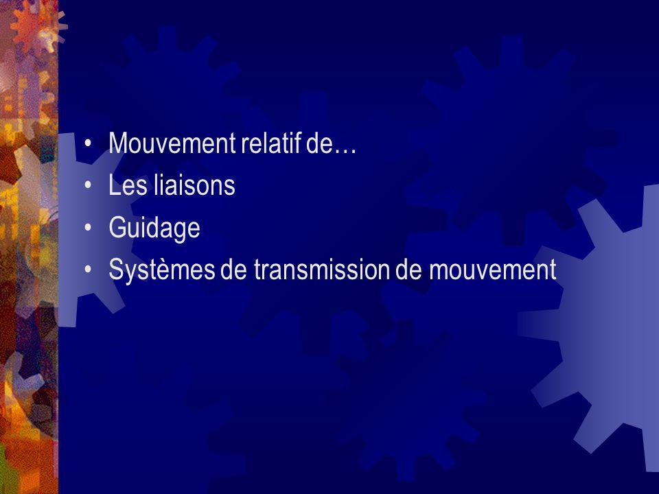 Mouvement relatif de… Les liaisons Guidage Systèmes de transmission de mouvement