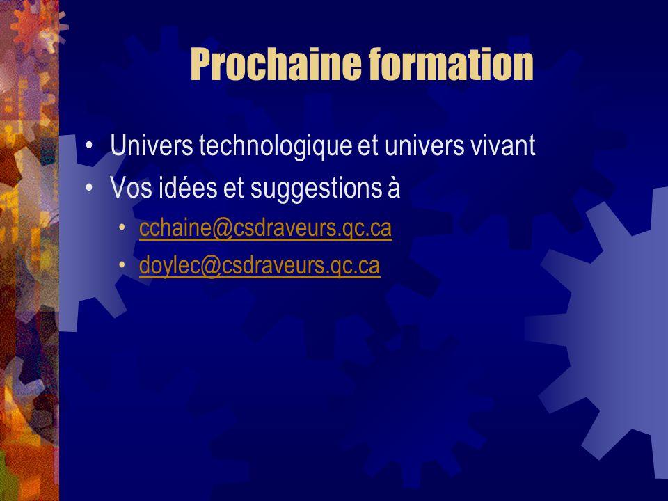 Prochaine formation Univers technologique et univers vivant