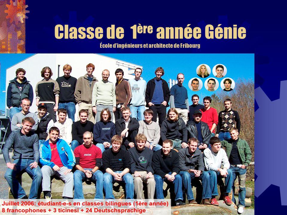 Classe de 1ère année Génie École d'ingénieurs et architecte de Fribourg