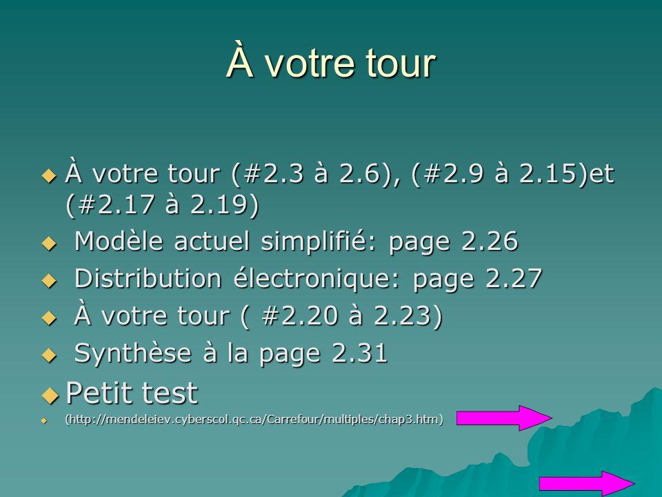 À votre tour À votre tour (#2.3 à 2.6), (#2.9 à 2.15)et (#2.17 à 2.19) Modèle actuel simplifié: page 2.26.