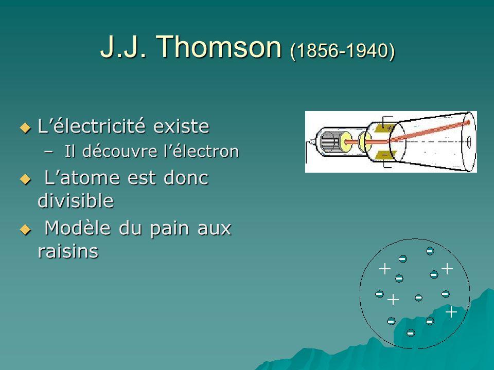 J.J. Thomson (1856-1940) L'électricité existe