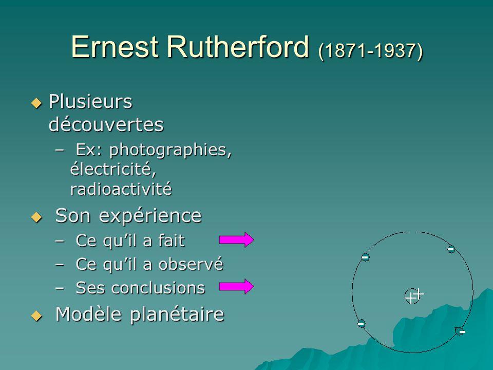 Ernest Rutherford (1871-1937) Plusieurs découvertes Son expérience