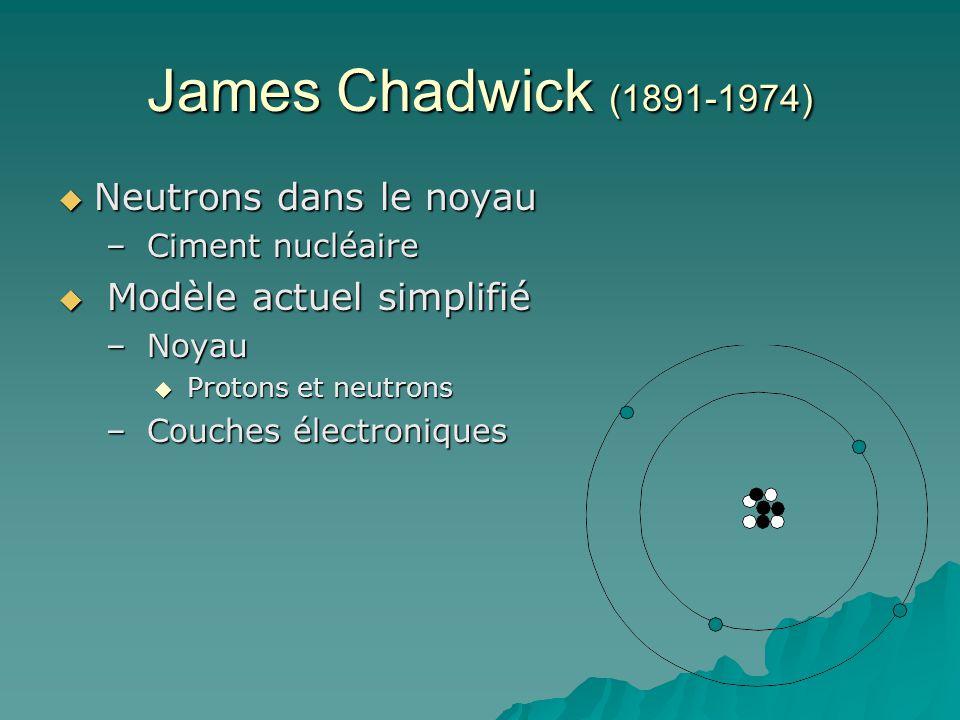 James Chadwick (1891-1974) Neutrons dans le noyau
