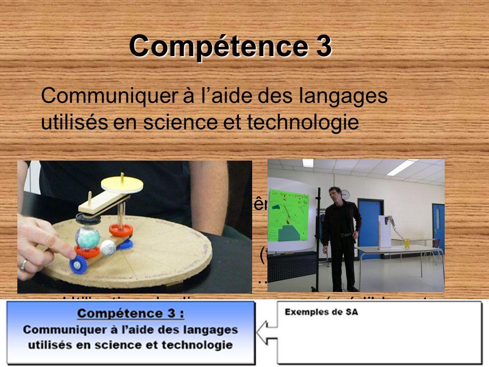 Compétence 3 Communiquer à l'aide des langages utilisés en science et technologie. Comment