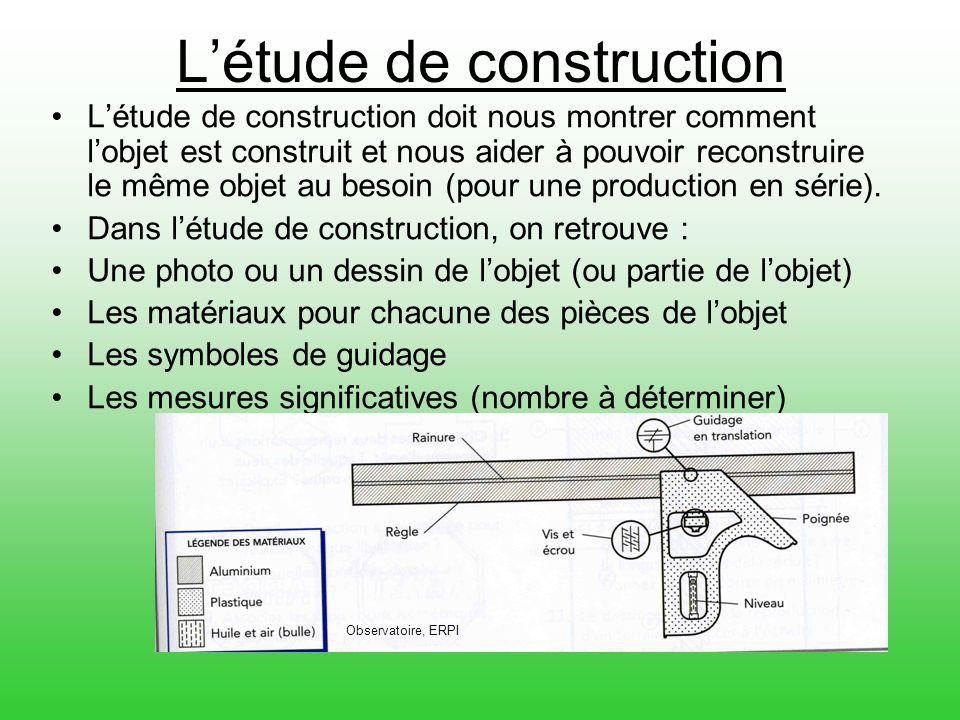 L'étude de construction