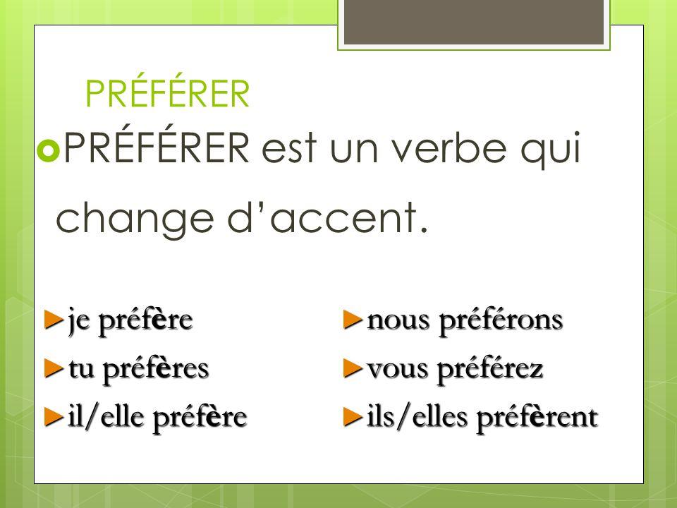 PRÉFÉRER est un verbe qui change d'accent.