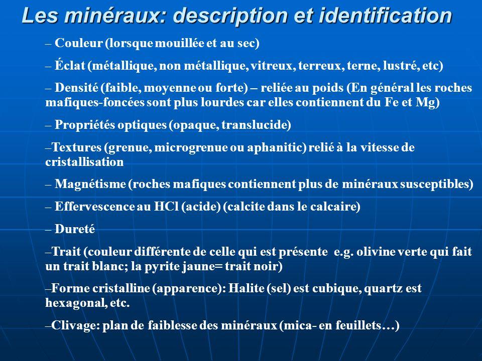 Les minéraux: description et identification