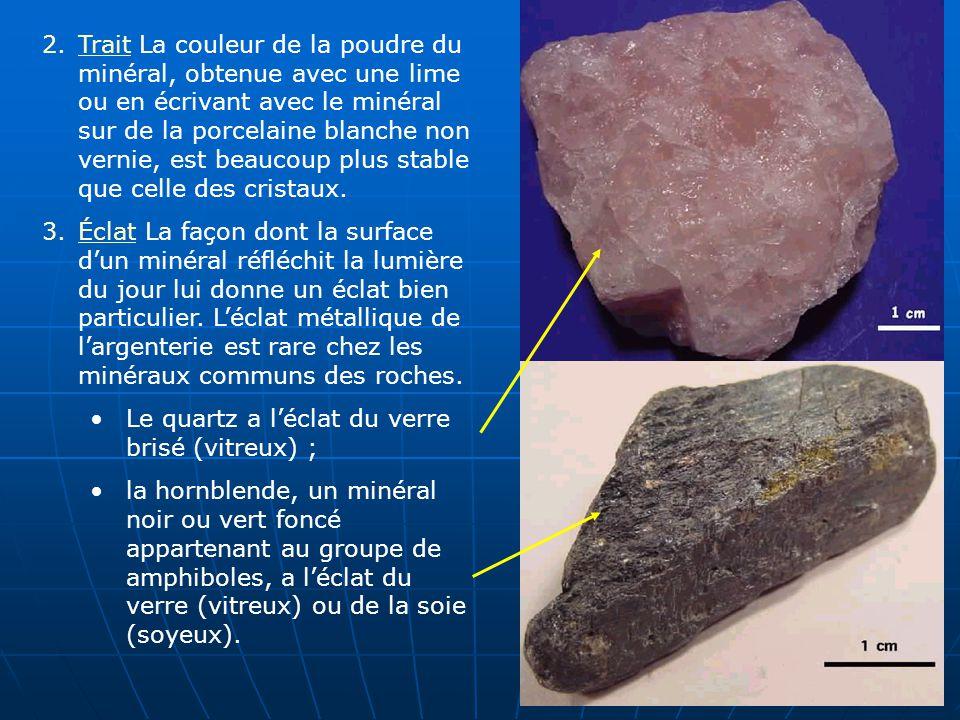 Trait La couleur de la poudre du minéral, obtenue avec une lime ou en écrivant avec le minéral sur de la porcelaine blanche non vernie, est beaucoup plus stable que celle des cristaux.