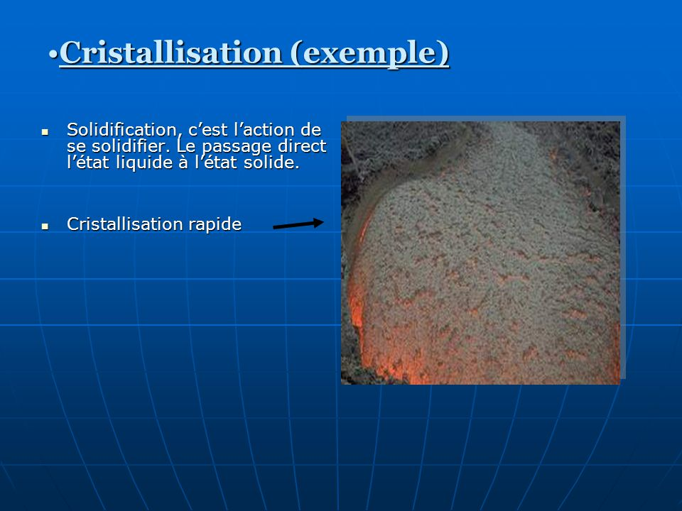 Cristallisation (exemple)