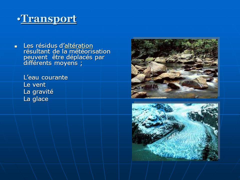 Transport Les résidus d'altération résultant de la météorisation peuvent être déplacés par différents moyens ;