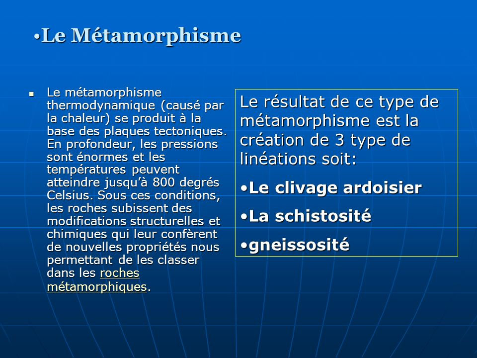 Le Métamorphisme