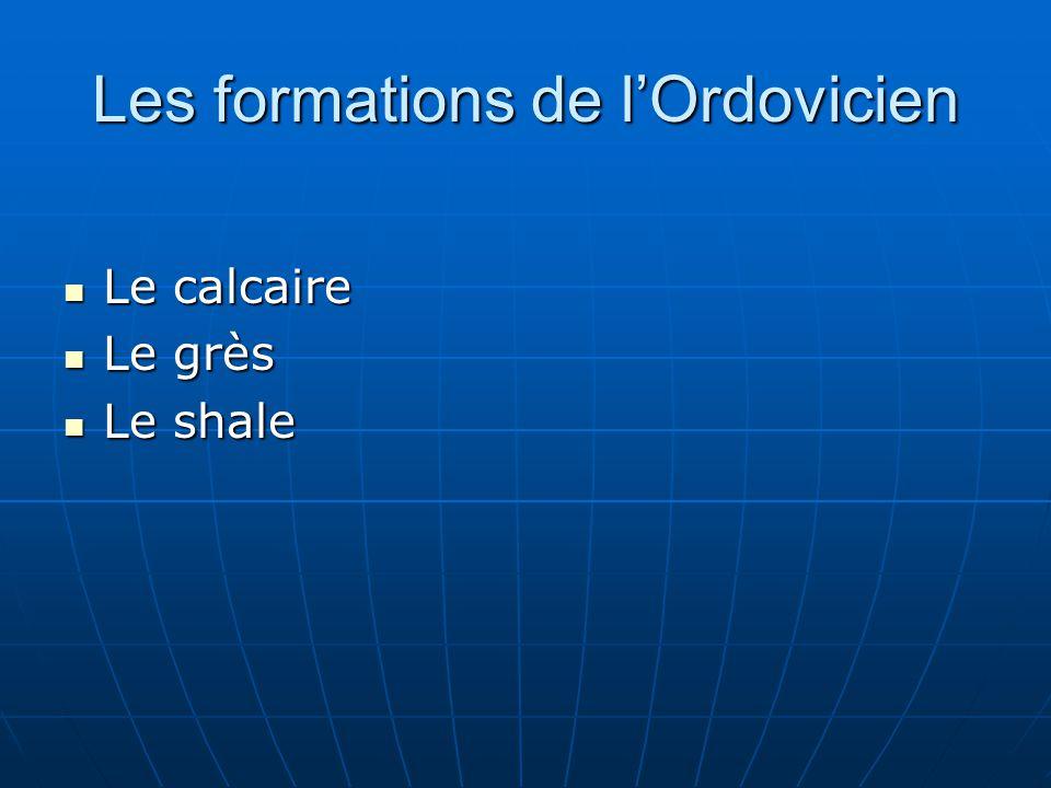 Les formations de l'Ordovicien