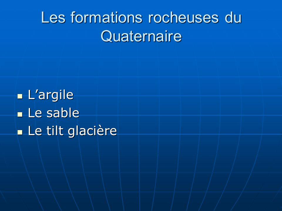 Les formations rocheuses du Quaternaire