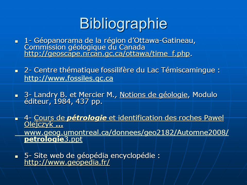 Bibliographie 1- Géopanorama de la région d'Ottawa-Gatineau, Commission géologique du Canada http://geoscape.nrcan.gc.ca/ottawa/time_f.php.