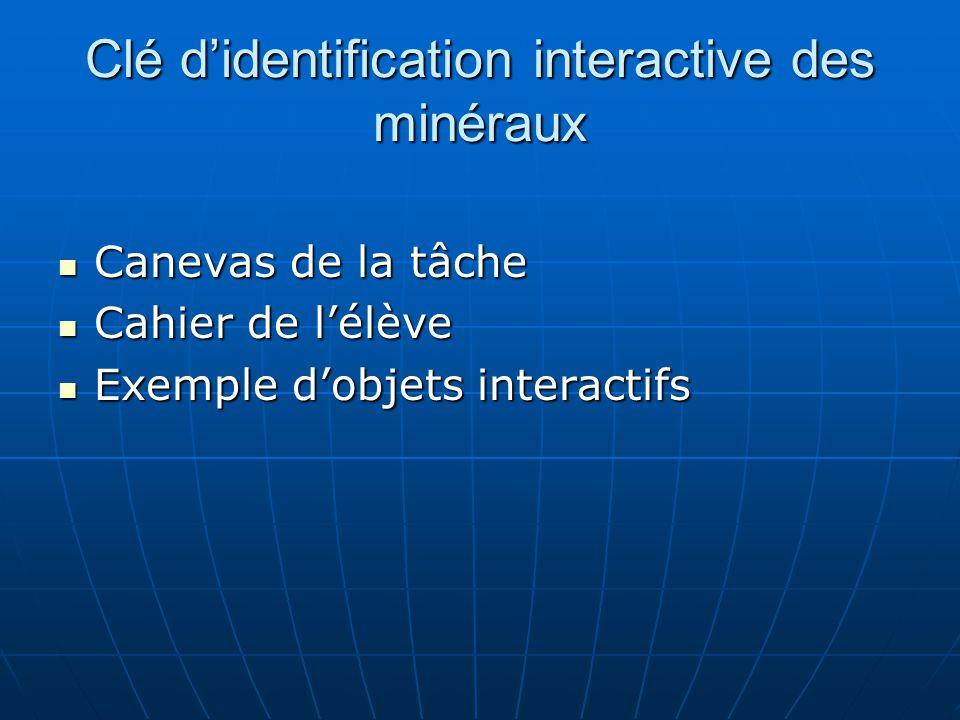 Clé d'identification interactive des minéraux