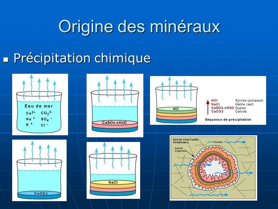 Origine des minéraux Précipitation chimique