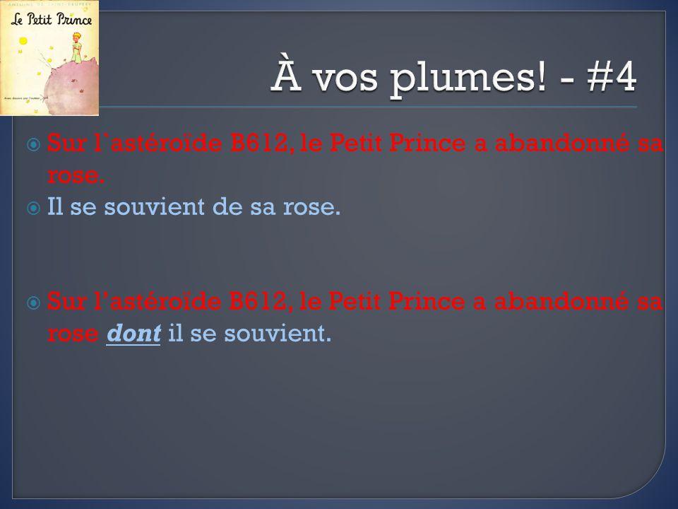 À vos plumes! - #4 Sur l`astéroïde B612, le Petit Prince a abandonné sa rose. Il se souvient de sa rose.