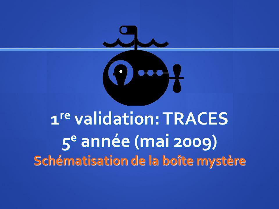 1re validation: TRACES 5e année (mai 2009) Schématisation de la boîte mystère