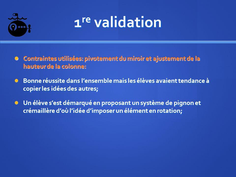 1re validation Contraintes utilisées: pivotement du miroir et ajustement de la hauteur de la colonne: