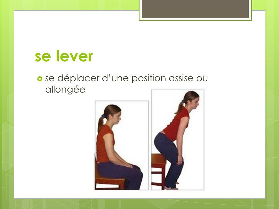 se lever se déplacer d'une position assise ou allongée